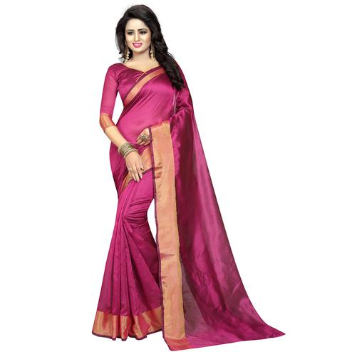 Blissful Pink Colored Festive Wear Cotton Silk Saree