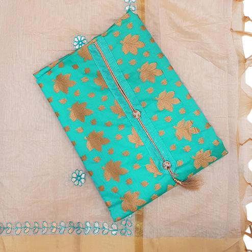 Surpassing Sky Blue Colored Partywear Embroidered Modal Dress Material