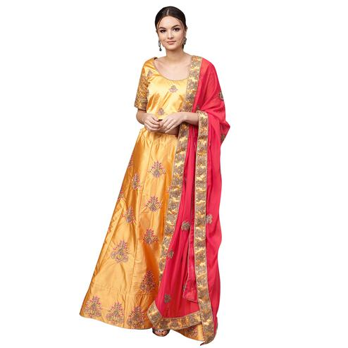 Exotic Yellow Colored Partywear Embroidered Satin Lehenga Choli