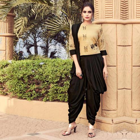 Gleaming Cream-Black Colored Partywear Embroidered Silk Indo-Western Suit