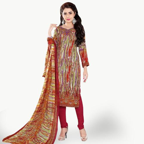 Exceptional Multi Colored Casual Wear Printed Crepe Dress Material