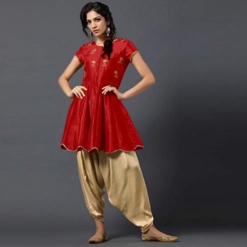 Fantastic Red Colored Partywear Embroidered Tapeta Silk Dhoti Style Suit