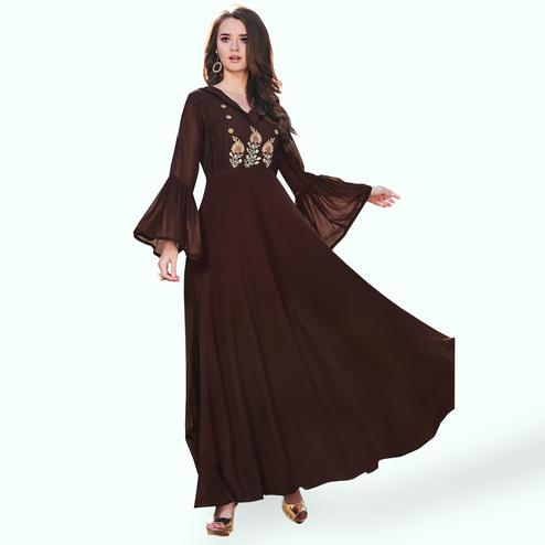 Hypnotic Brown Colored Party Wear Embroidered Georgette Kurti