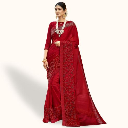 Opulent Red Colored Party Wear Embroidered Georgette Saree