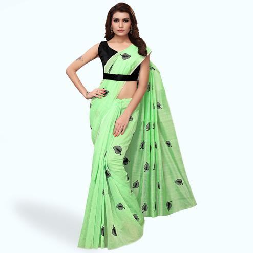 Pleasance Green Colored Party Wear Embroidered Chanderi Silk Saree