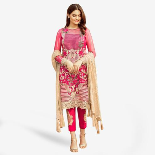 Flamboyant Pink Colored Partywear Embroidered Georgette Suit