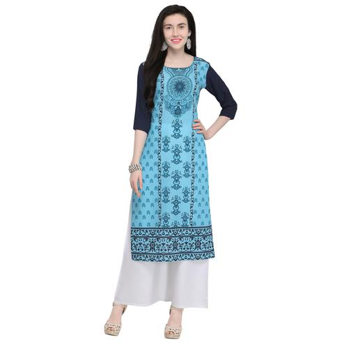 Hypnotic Blue Colored Casual Wear Printed Crepe Kurti