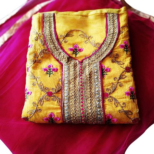 Glorious Yellow Colored Partywear Embroidered Modal Dress Material