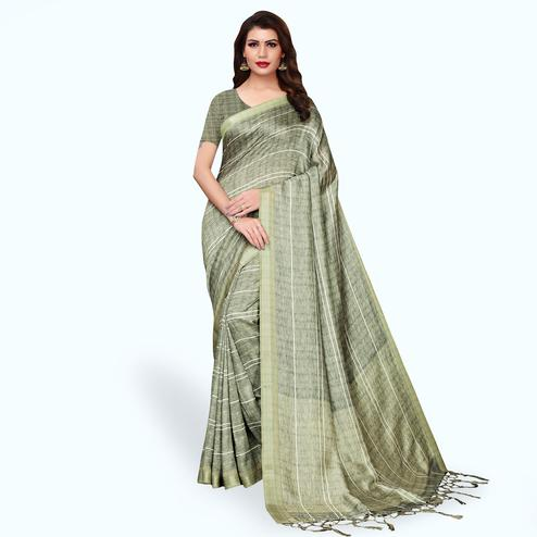 Beautiful Pastel Olive Green Colored Casual Wear Printed Pashmina Silk Saree