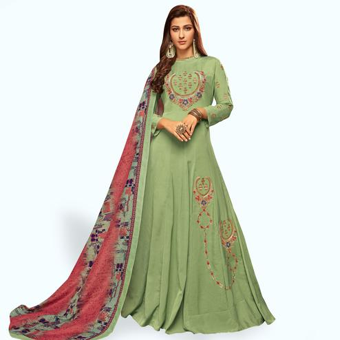 Gorgeous Pastel Green Colored Partywear Embroidered Cotton Gown