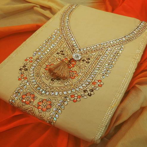 Impressive Beige-Orange Colored Partywear Embroidered Cotton Dress Material