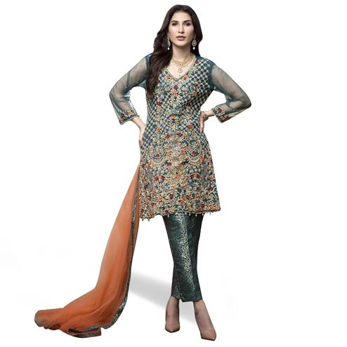 Fantastic Teal Green Colored Partywear Embroidered Netted Pant Style Suit