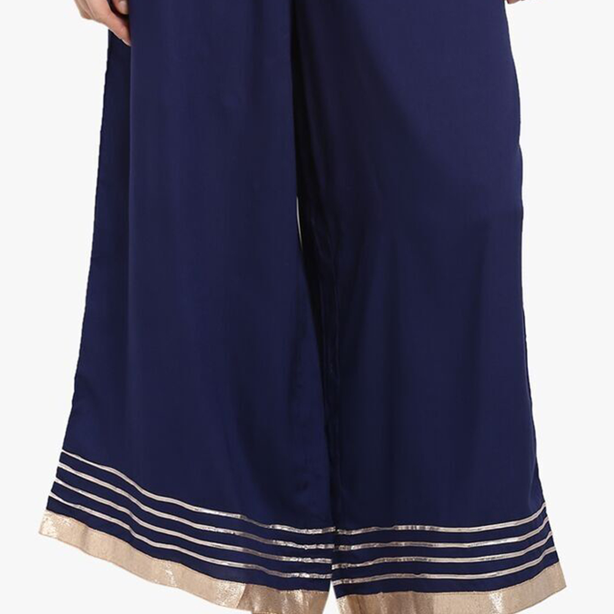 Elegant Navy Blue Colored Casual Rayon Palazzo
