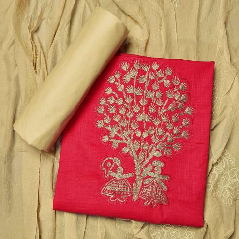Preferable Red Colored Partywear Embroidered Cotton Dress Material