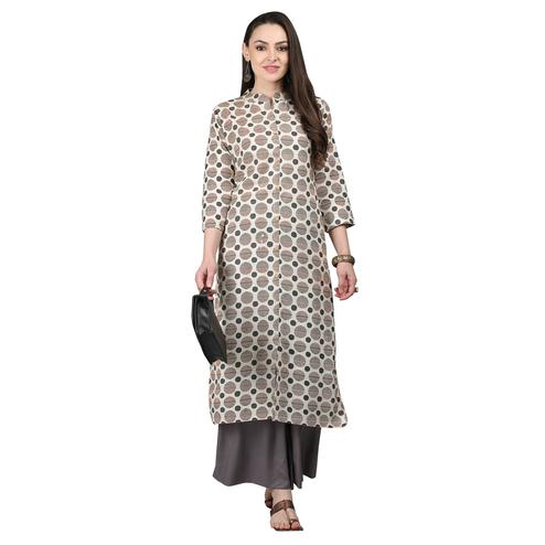 Flamboyant Off White-Gray Colored Casual Printed Cotton Kurti