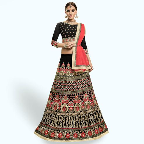 Arresting Black Colored Party Wear Embroidered Georgette Lehenga Choli