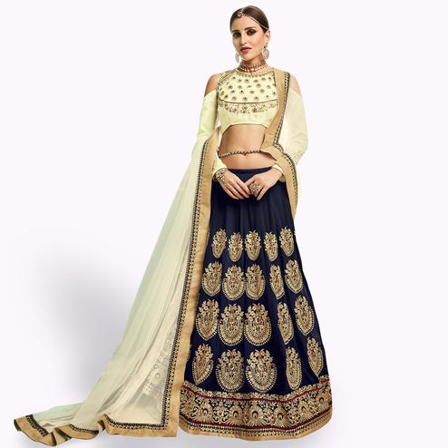 Adorable Navy Blue - Cream Colored Party Wear Embroidered Mulberry Silk Lehenga Choli