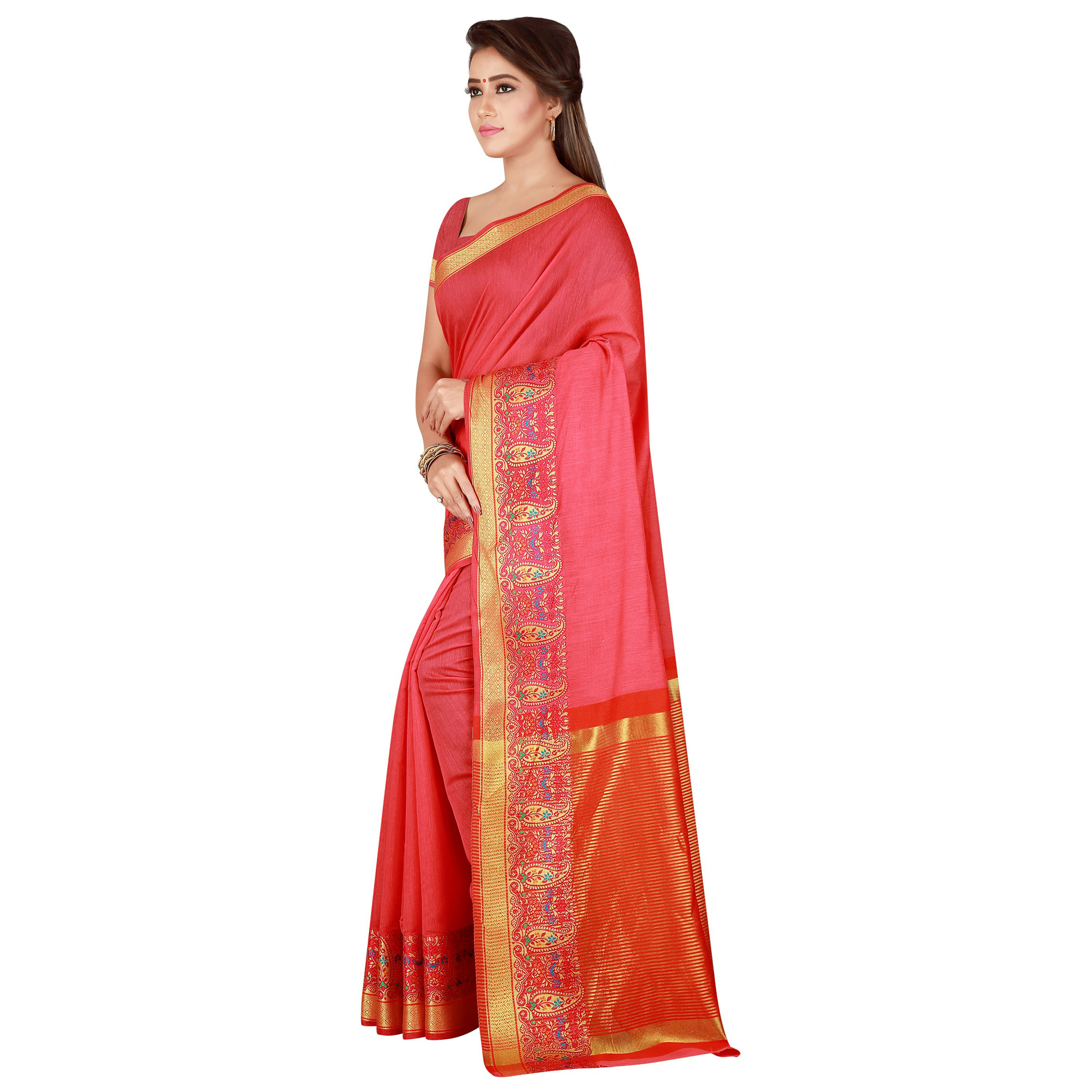 Adorning Pink Colored festive Wear Pure Cotton Saree