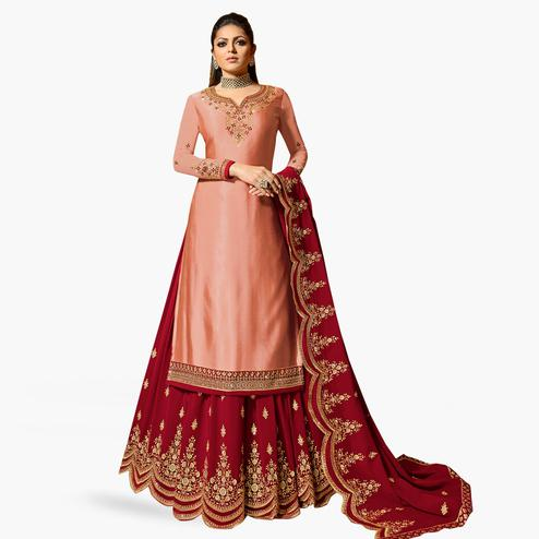 Preferable Peach Colored Partywear Embroidered Satin Georgette Lehenga Kameez