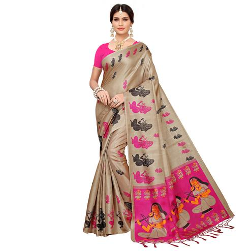 Refreshing Beige-Pink Colored Festive Wear Khadi Silk Saree