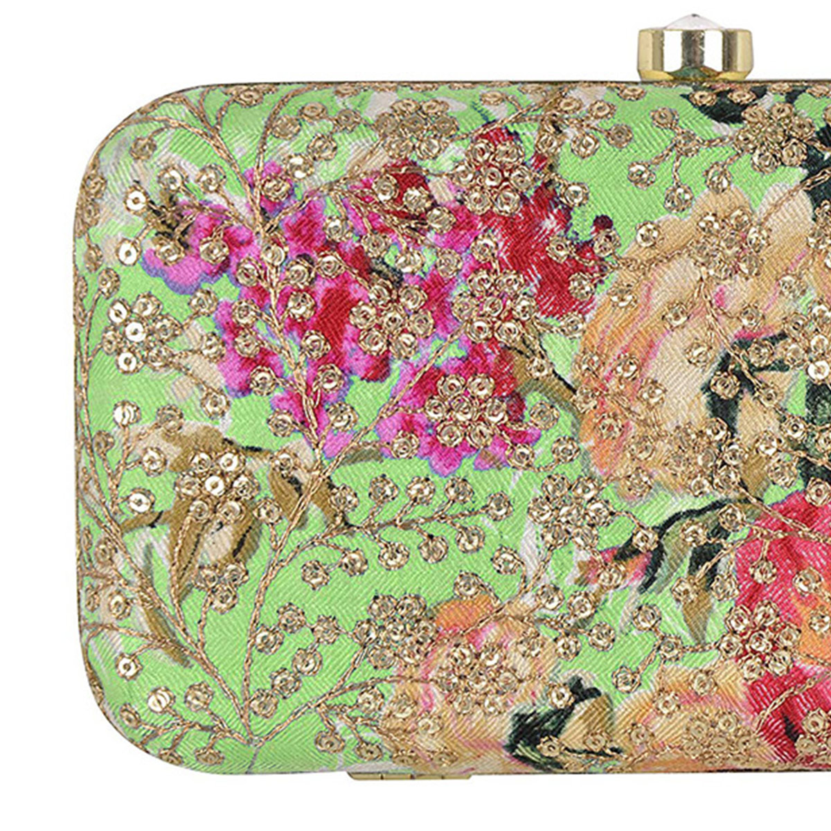 Opulent Green Colored Handcrafted Partywear Sequin Embroidered Clutch