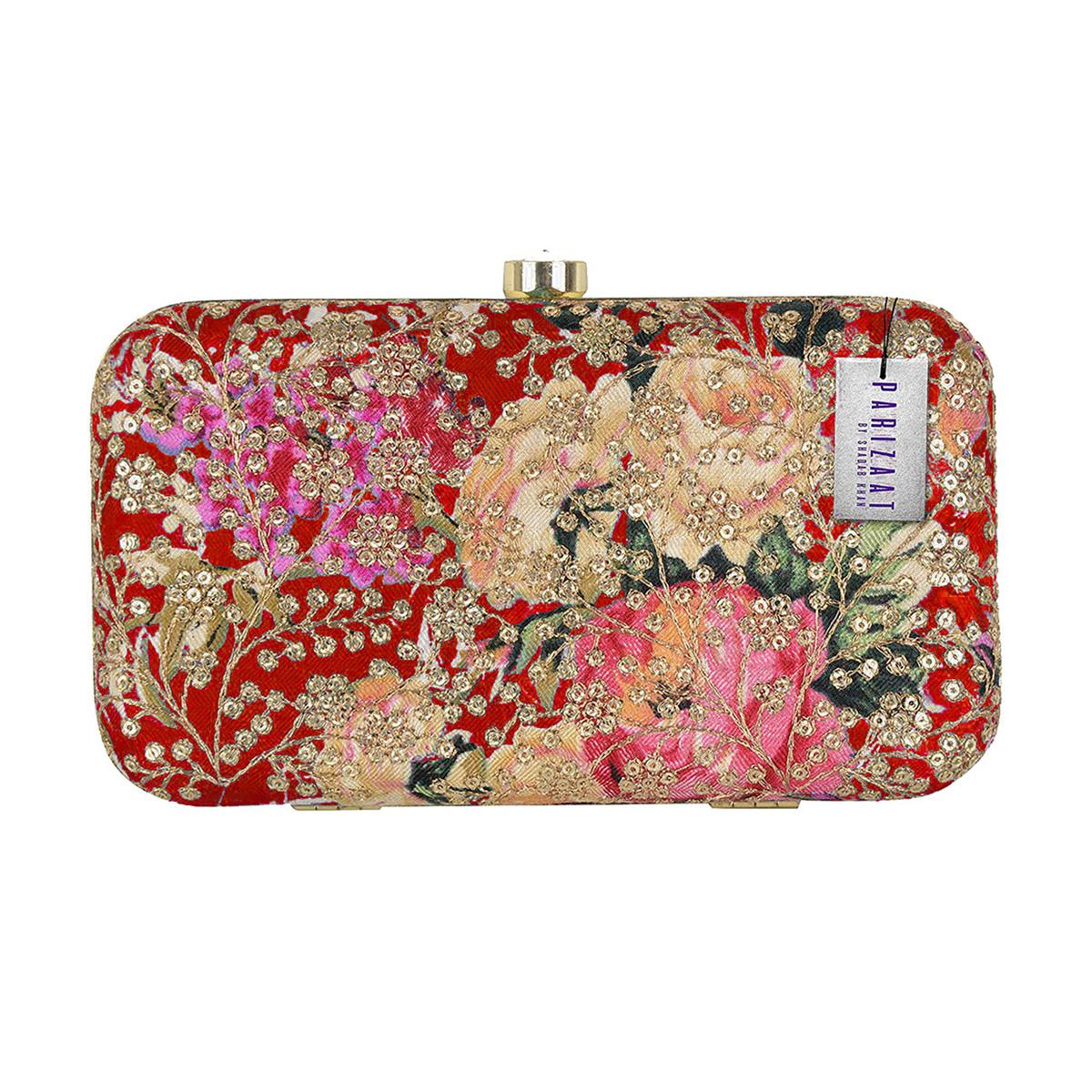 Arresting Maroon Colored Handcrafted Partywear Sequin Embroidered Clutch