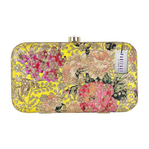 Sophisticated Yellow Colored Handcrafted Partywear Sequin Embroidered Clutch