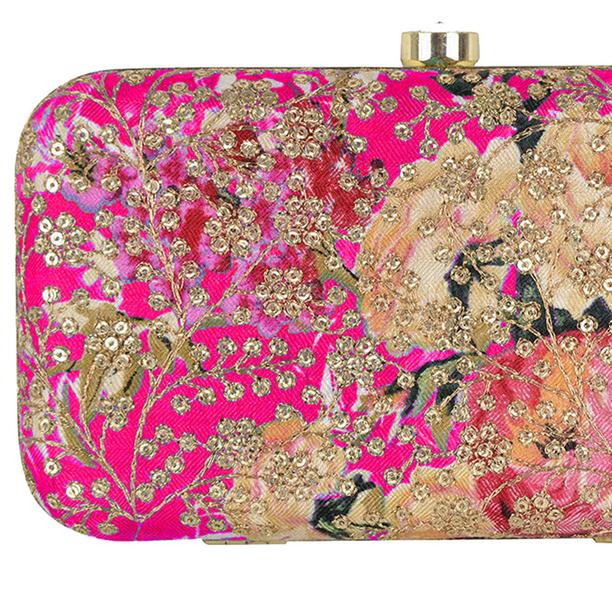 Pleasant Fuchsia Colored Handcrafted Partywear Sequin Embroidered Clutch