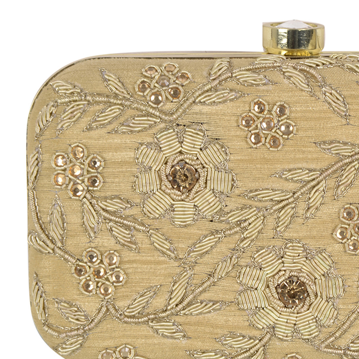 Alluring Beige Colored Handcrafted Partywear Embroidered Clutch