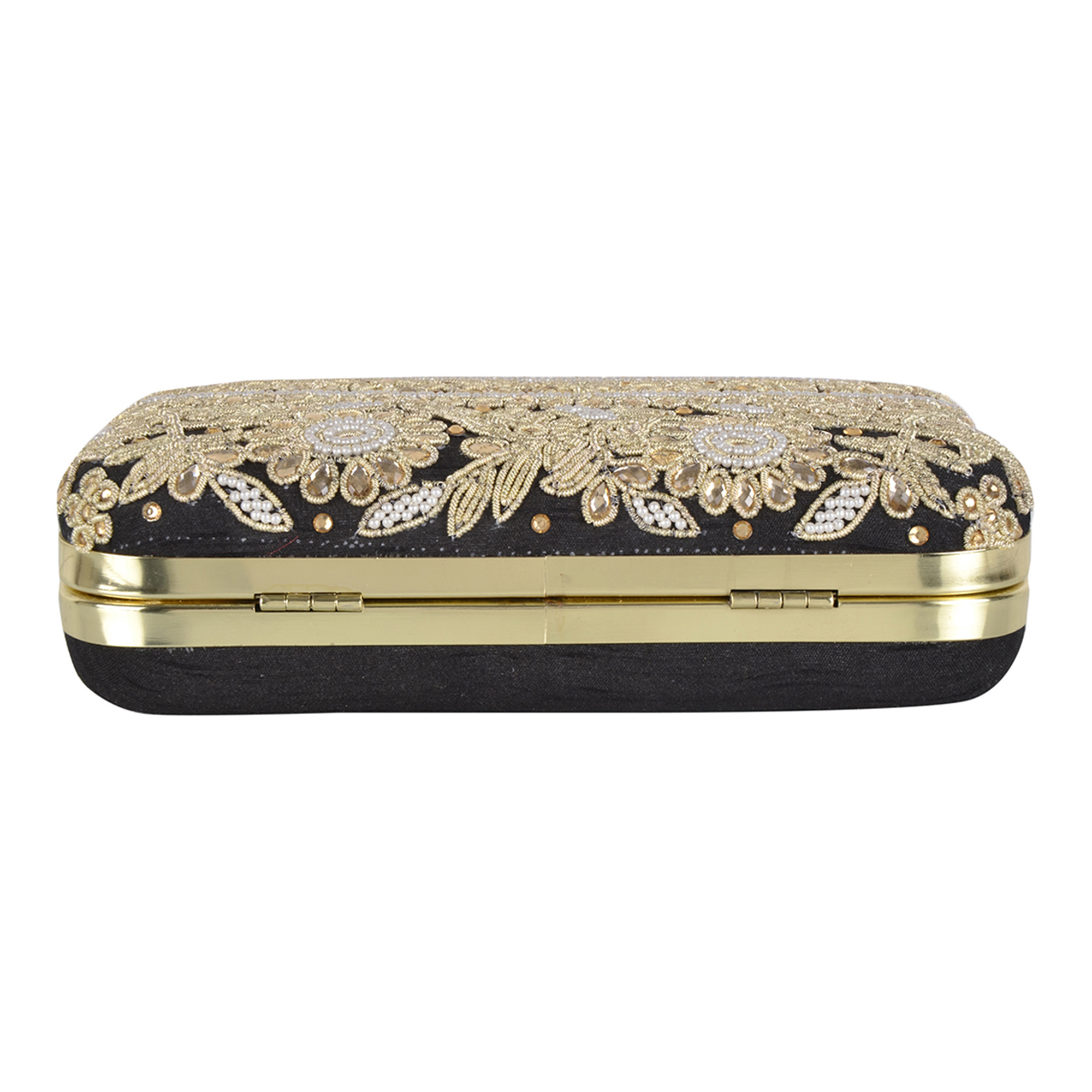 Surpassing Black Colored Handcrafted Partywear Embroidered Clutch