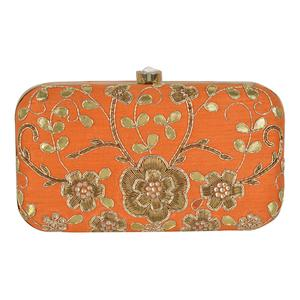 Glorious Orange Colored Handcrafted Partywear Embroidered Clutch