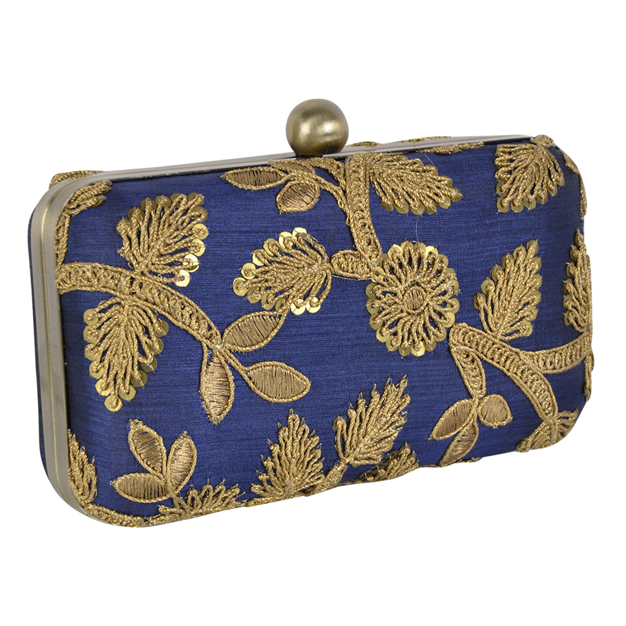 Jazzy Blue Colored Handcrafted Partywear Embroidered Clutch