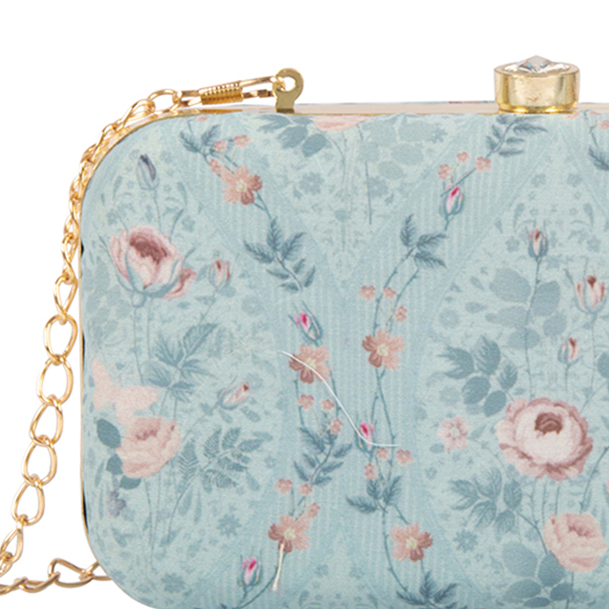 Fantastic Turquoise Blue Colored Handcrafted Partywear Embroidered Clutch