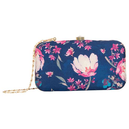 Mesmerising Navy Blue Colored Handcrafted Partywear Embroidered Clutch