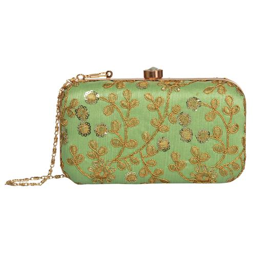 Dazzling Pista Green Colored Handcrafted Partywear Embroidered Clutch