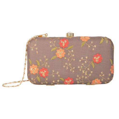 Mesmeric Brown Colored Handcrafted Partywear Embroidered Clutch