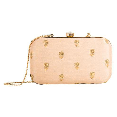 Lovely Peach Colored Handcrafted Partywear Embroidered Clutch