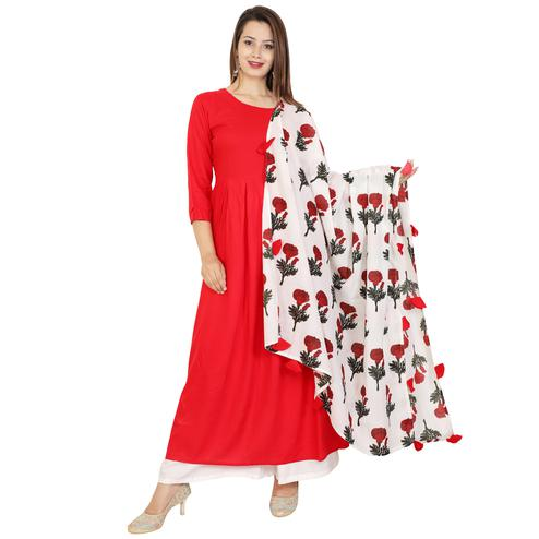 Eye-catching Red Colored Casual Wear Viscose Kurti With Dupatta
