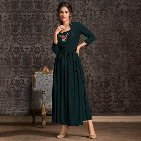 Engrossing Dark Teal Green Colored Partywear Embroidered Rayon Long Kurti