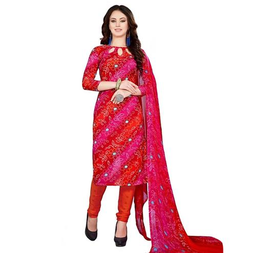 Lovely Red Colored Casual Printed Crepe Dress Material