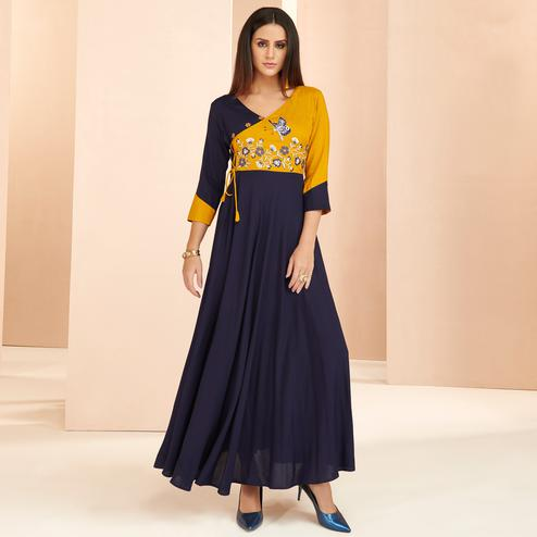 Majesty Navy Blue Colored Partywear Embroidered Heavy Rayon Long Kurti