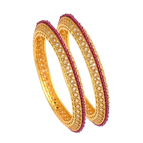 Jazzy White and Red Stone Bangles Pair