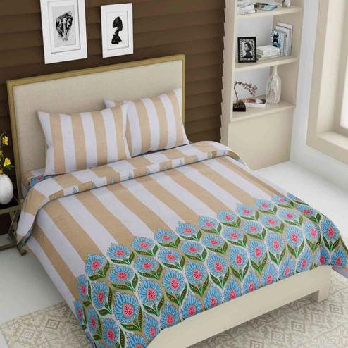 Pretty Brown Colored Printed Queen Sized Bed Sheet With 2 Pillow Covers
