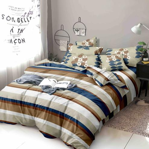 Prominent Brown-Multi Colored Printed Queen Sized Bed Sheet With 2 Pillow Covers