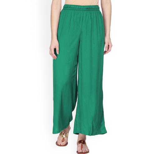 Admiring Turquoise Green Colored Casual Wear Rayon Palazzo