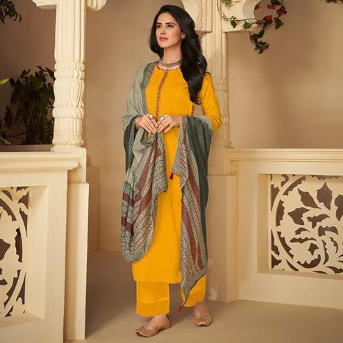 Innovative Yellow Casual Embroidered Pure Jam Silk Suit