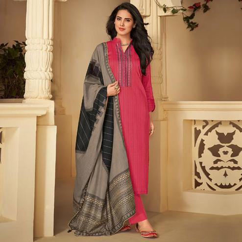 Amazing Pink Casual Embroidered Pure Jam Silk Suit