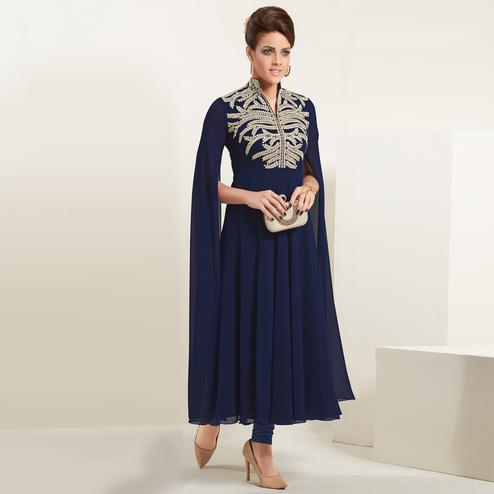 Flattering Navy Blue Colored Partywear Embroidered Georgette Kurti