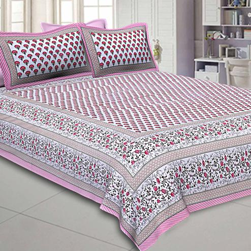 Refreshing White-Pink Colored Floral Printed Pure Cotton Double Bedsheet With Pillow Cover Set