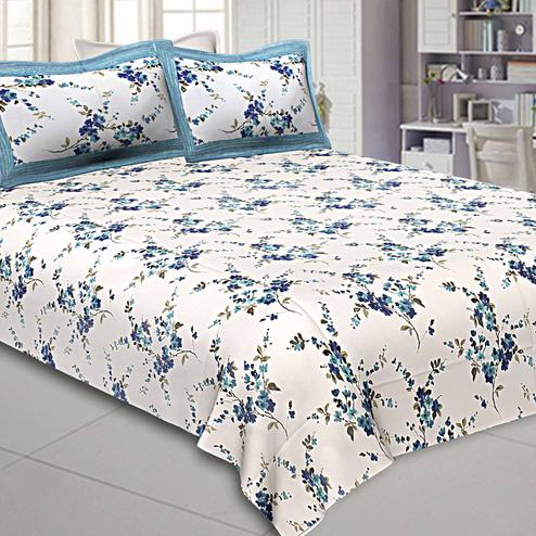 Blooming White-Blue Colored Floral Printed Pure Cotton Double Bedsheet With Pillow Cover Set
